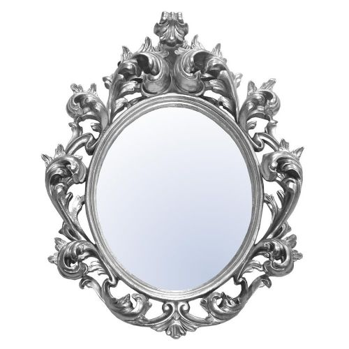 Baroque Silver Oval Bevelled Tall Mirror